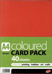 A4 Coloured Card Pack - 40 Sheets