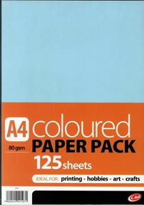 A4 Coloured Paper Pack - 125 Sheets