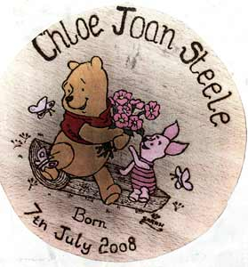 Pooh And Piglet With Flowers Christening Stool